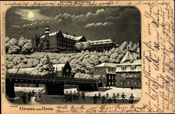 Mondschein Litho Gera in Thüringen, Schloss Osterstein, Winteransicht, Eisläufer