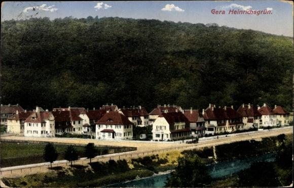 Ak Gera in Thüringen, Heinrichsgrün, Wohnsiedlung am Hainberg, Ufer der Weißen Elster