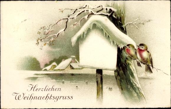 Litho Glückwunsch Weihnachten, Zwei Vögel auf einem Ast, verschneites Wegkreuz