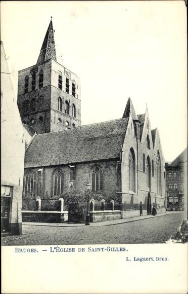 Ak Bruges Brügge Flandern Westflandern, L'Église de Saint Gilles
