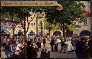 Künstler Ak Quidenus, Fritz, München Bayern, Kneiphof im Königlichen Hofbräuhaus, Johann Panzer