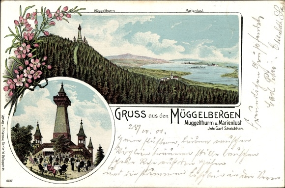 Litho Berlin Köpenick, Müggelberge, Müggelturm, Marienlust, Inh. Carl Streichhan