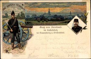 Künstler Litho Wolfenbüttel in Niedersachsen, Sternhaus im Lechelnholz, Nec Aspera Terrent, Soldaten