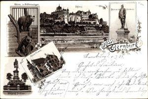 Litho Bernburg an der Saale Salzlandkreis, Schloss, Bären im Schlosszwinger, Bismarck Denkmal