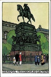 Künstler Ak Berlin Mitte, Denkmal Friedrich des Großen, Deutsche Lehrerversammlung 1912