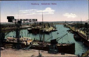 Ak Hamburg, Blick auf den Kuhwerder Hafen, Kran