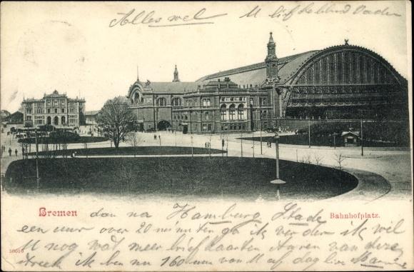 Ak Hansestadt Bremen, Blick auf den Bahnhofsplatz