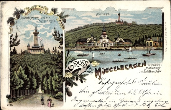 Litho Berlin Köpenick, Aussichtsturm auf den Müggelbergen, Marienlust, Inh. Carl Streichan