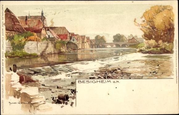 Künstler Litho Wielandt, Manuel, Besigheim im Kreis Ludwigsburg, Neckarpartie