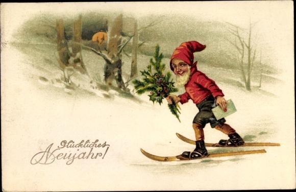 Ak Glückwunsch Neujahr, Zwerg auf Skiern mit Brief, EAS 5369