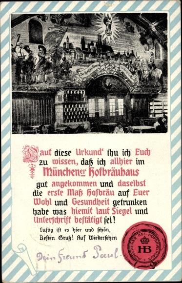 Passepartout Ak München Bayern, Urkunde, Königliches Hofbräuhaus, Pächter Johann Panzer