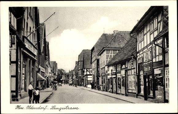 Ak Hessisch Oldendorf an der Weser, Langestraße, Geschäft Wilhelm Edler, Fachwerkhäuser