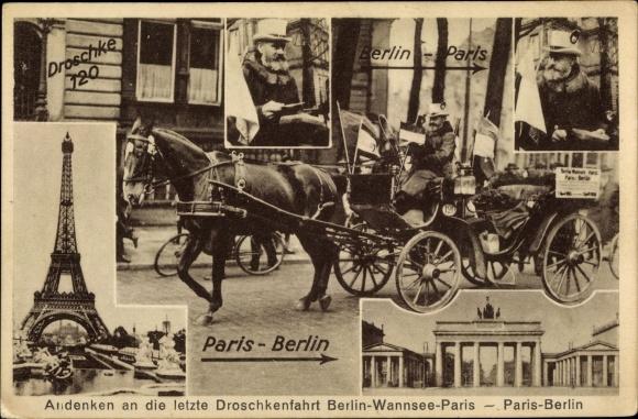 Ak Berlin Mitte, Letzte Droschkenfahrt Berlin-Paris, 1.4.1928, Droschke Nr. 120, Gustav Hartmann