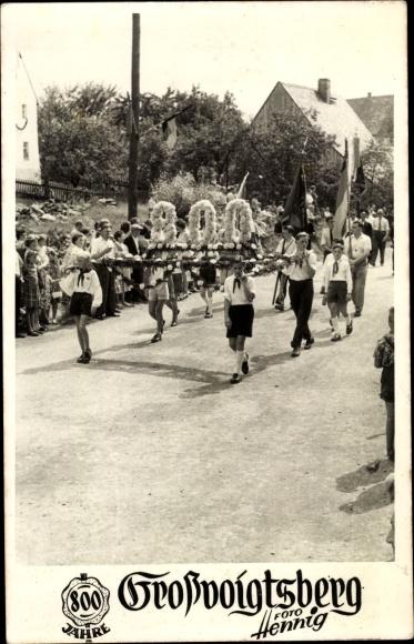 Foto Ak Großvoigtsberg Großschirma im Kreis Mittelsachsen, 800 Jahrfeier, Jungpioniere, FDJ