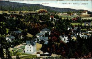 Ak Szklarska Poręba Schreiberhau Riesengebirge Schlesien, Blick vom Rabenstein, Bahnhof