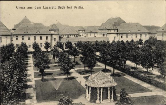 Ak Berlin Pankow Buch, Blick auf das Lazarett, Parkanlagen