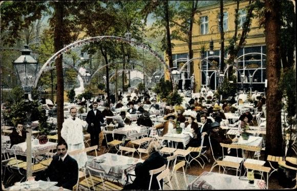 Ak Berlin Tiergarten, Terrassenpartie am Zelt 4, Ausschank der Löwen Brauerei