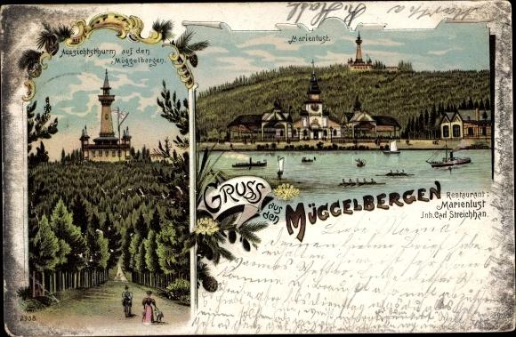 Litho Berlin Köpenick, Aussichtsturm auf den Müggelbergen, Marienlust, Inh. Carl Streichhan