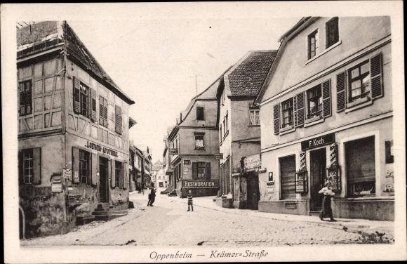 Ak Oppenheim am Oberrhein, Partie an der Krämer Straße, Geschäft F. Koch, Loewen Apotheke