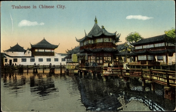 Ak China, Teahouse in a chinese city, Teehäuschen
