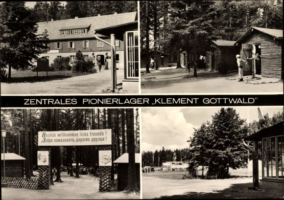 Ak Papstdorf Gohrisch in Sachsen, Zentrales Pionierlager Klement Gottwald, Eingang, Bungalows