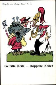 Künstler Ak Trier, Geteilte Keile, doppelte Keile, englischer und französischer Soldat, I. WK