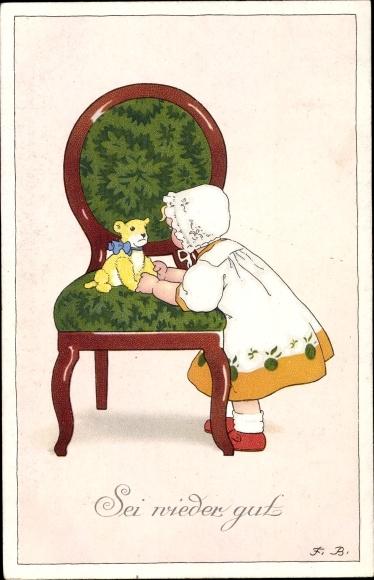 Künstler Ak Baumgarten, Fritz, Sei wieder gut, Mädchen mit Teddybär, Meissner & Buch 2492