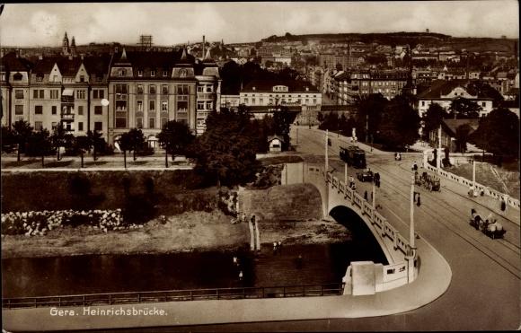 Ak Gera in Thüringen, Blick auf die Heinrichsbrücke