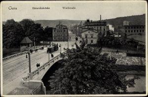 Ak Gera in Thüringen, Heinrichsbrücke, Waldstraße, Straßenbahn