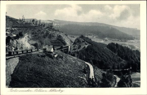 Ak Moldava Moldau Reg. Aussig, Mikulov v Krušných horách Niklasberg Reg. Aussig, Eisenbahnstrecke