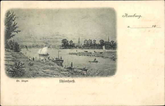 Künstler Ak Unger, Ed., Hamburg Nord Uhlenhorst, Alsterpartie, Boote, Kirche