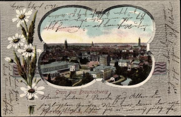 Passepartout Ak Braunschweig in Niedersachsen, Panoramablick auf die Stadt