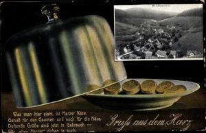 Ak Wildemann Clausthal Zellerfeld im Oberharz, Käseglocke und Harzer Käse, Panorama, Gedicht
