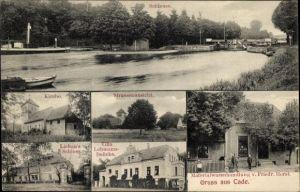 Ak Kade Jerichow in Sachsen Anhalt, Schleuse, Handlung Friedr. Horst, Villa Lehmann Belicke, Kirche