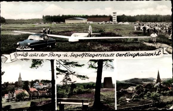 Ak Oerlinghausen im Kreis Lippe, Segelflugzeug, Kirche, Blick auf Ortschaft und Umgebung