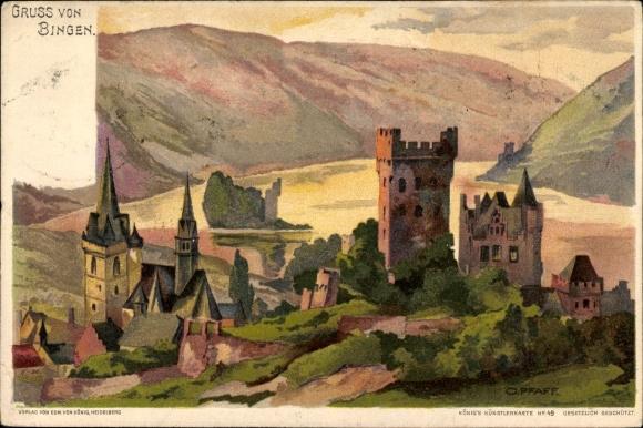 Künstler Litho Pfaff, C., Bingen am Rhein, Burg Klopp, Panorama vom Ort