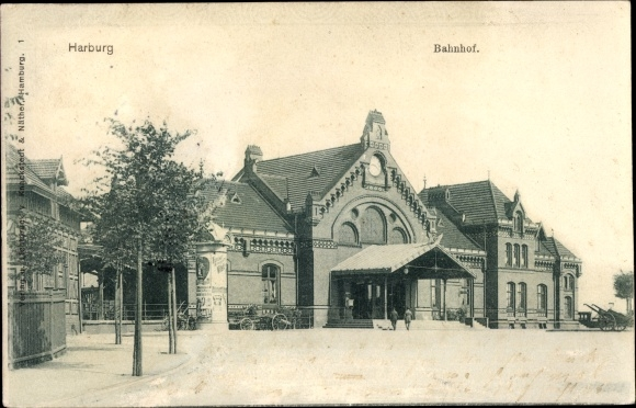 Ak Hamburg Harburg Bahnhof Von Der Straßenseite Eingang Nr