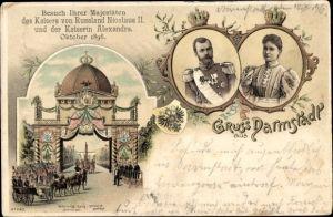Litho Darmstadt in Hessen, Zar Nikolaus II. von Russland, Zarin Alexandra, Staatsbesuch 1896