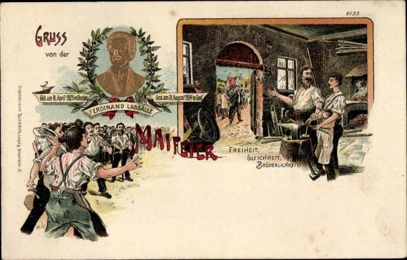 Präge Litho Gruß von der Maifeier, Ferdinand Lassalle, Schmiede, Arbeiterbewegung