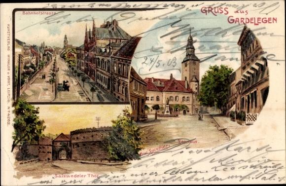 Künstler Litho Spindler, Erwin, Gardelegen im Altmarkkreis Salzwedel, Bahnhofstraße, Rathaus, Tor