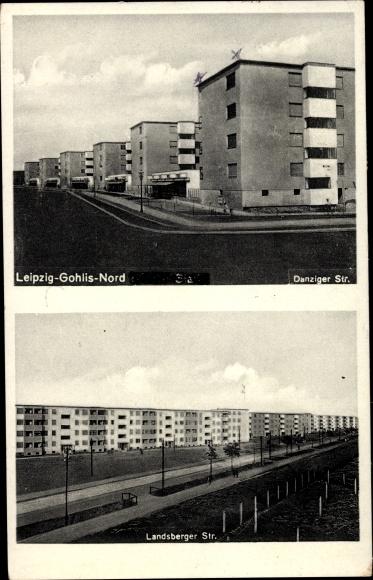 Ak Gohlis Leipzig in Sachsen, Danziger Straße, Landsberger Straße, Wohnsiedlung im Bauhausstil