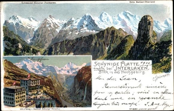 Künstler Litho Steinmann, C., Interlaken Kt. Bern Schweiz, Schynige Platte, Blick in das Hochgebirg