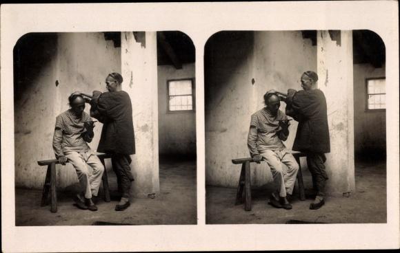 Stereo Ak China, Chinesische Volkstypen, Barbier bei der Arbeit,Stereoskop Postkarte Serie V. Bild 2