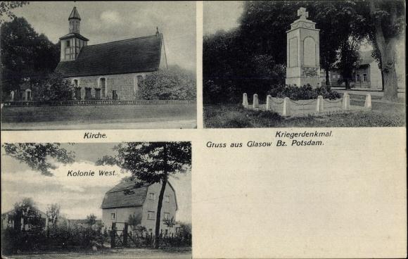 Ak Glasow Blankenfelde Mahlow Teltow Fläming, Kirche, Kriegerdenkmal, Kolonie West