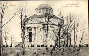 Ak Hansestadt Bremen, Ansicht vom Krematorium, Rhiensberger Friedhof