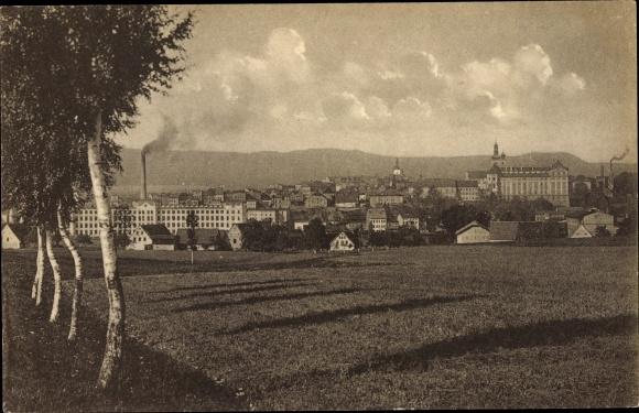 Ak Broumov Braunau Region Königgrätz, Blick vom Feld auf die Stadt