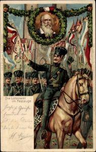 Litho Nürnberg in Mittelfranken, X. Deutsches Turnfest 1903, Die Lützower im Festzug, Turnvater Jahn