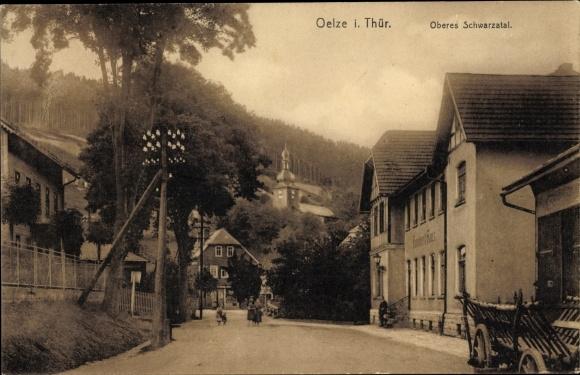 Ak Katzhütte im Schwarzatal Thüringen, Oberes Schwarzatal, Straßenpartie im Ort
