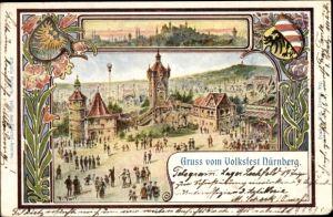Künstler Wappen Ak Nürnberg in Mittelfranken Bayern, Volksfest, Stadtpanorama