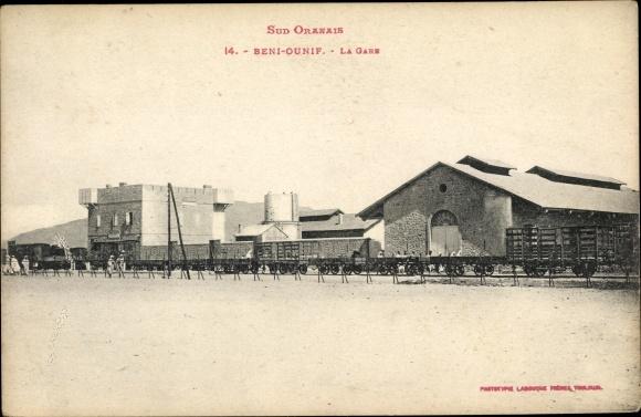 Ak Beni Ounif Algerien, La Gare, Bahnhof, Gleisseite